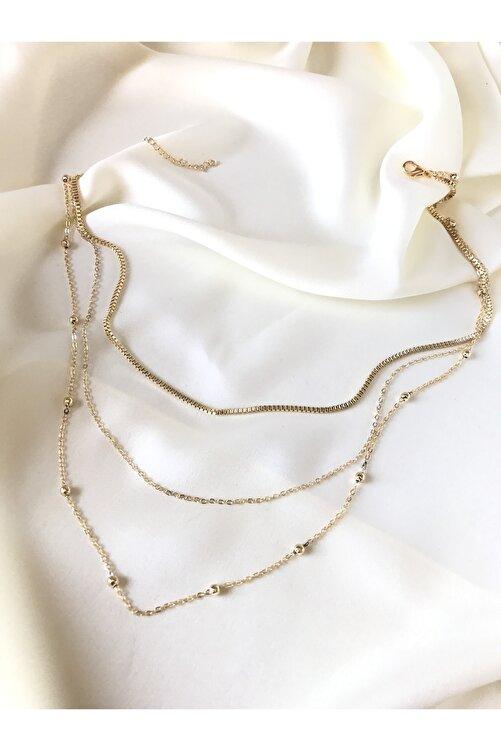 Şenart Accessories 14 K Sarı Altın Kaplama 3'lü Top Zincir Kare Zincir Kombin Kolye 1