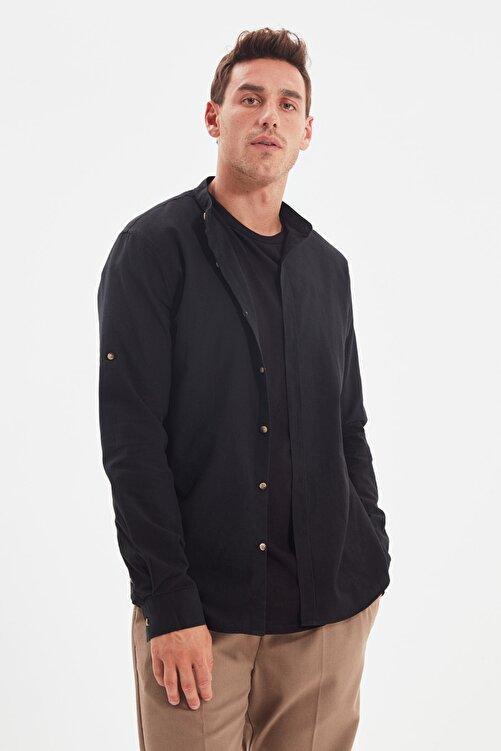TRENDYOL MAN Siyah Erkek Basic Hakim Yaka Apoletli Slim Fit Gömlek TMNSS20GO0188 2