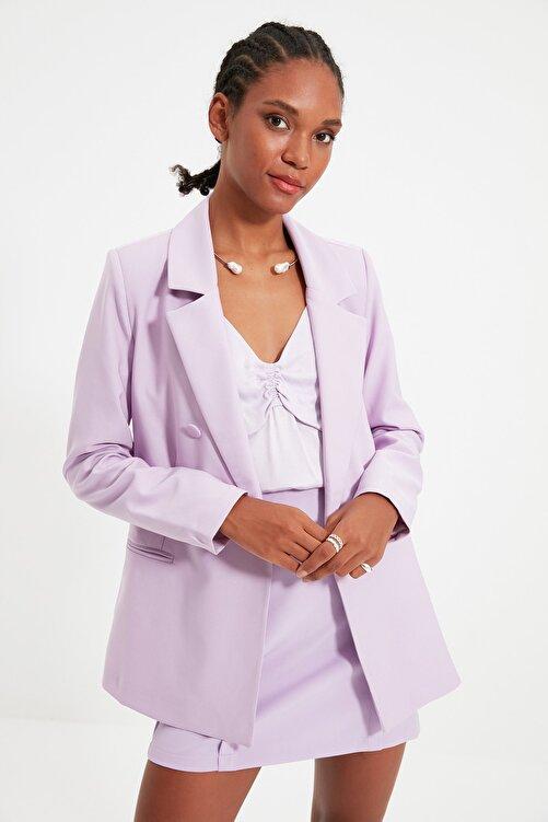 TRENDYOLMİLLA Lila Düğmeli Kruvaze Kapamalı Blazer Ceket TWOSS21CE0163 2