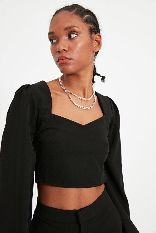 TRENDYOLMİLLA Siyah Crop Bluz TWOSS21BZ0236 2