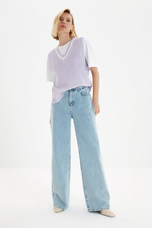 TRENDYOLMİLLA Açık Mavi Yüksek Bel Wide Leg Jeans TWOSS21JE0024 1