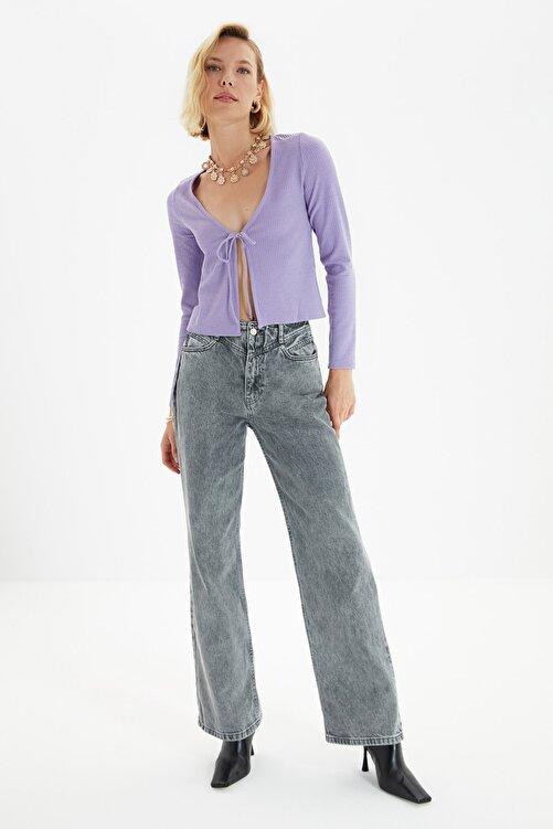 TRENDYOLMİLLA Antrasit Bel Detaylı Yüksek Bel 90's Wide Leg Jeans TWOSS21JE0385 1