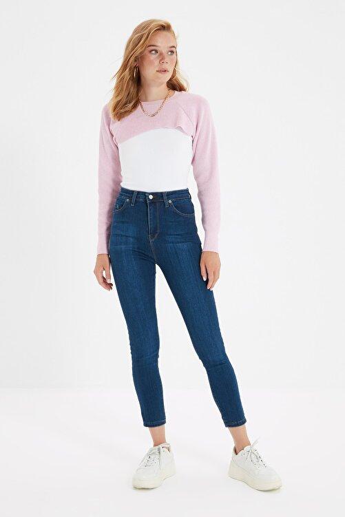 TRENDYOLMİLLA Lacivert Yüksek Bel Skinny Jeans TWOSS20JE0302 1