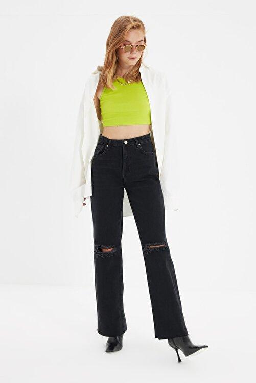 TRENDYOLMİLLA Siyah Yırtık Detaylı Yüksek Bel Wide Leg Jeans TWOAW21JE0539 2