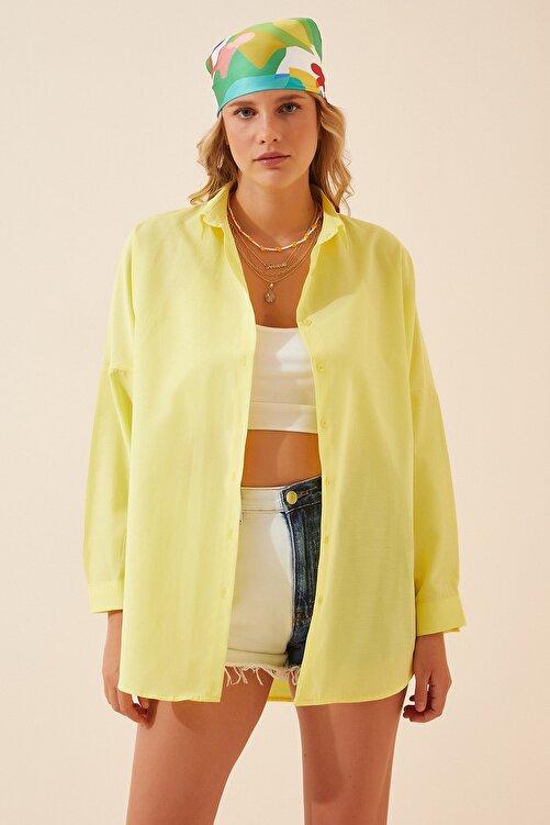 Happiness İst. Kadın Açık Sarı Oversize Uzun Basic Gömlek  DD00842 2