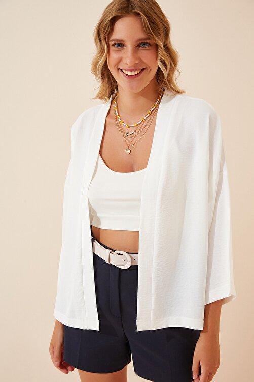 Happiness İst. Kadın Beyaz Yazlık Basic Ayrobin Ceket DD00976 1