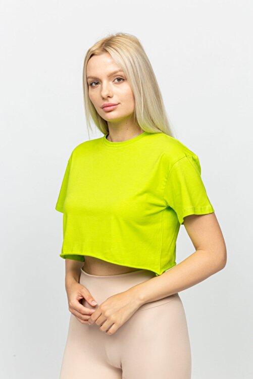 Mon Moule Fıstık Yeşili Kadın Lazer Kesim Basic Tshirt 1