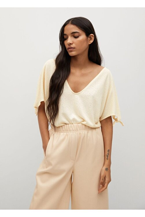 MANGO Woman Kadın Bej Düğümlü Jarse Tişört 1