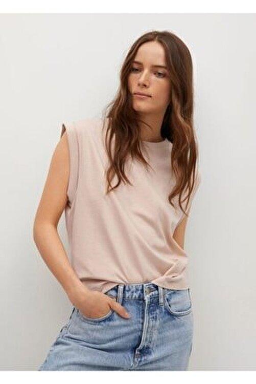 MANGO Woman Kadın Kum Beji Pili Detaylı Tişört 1