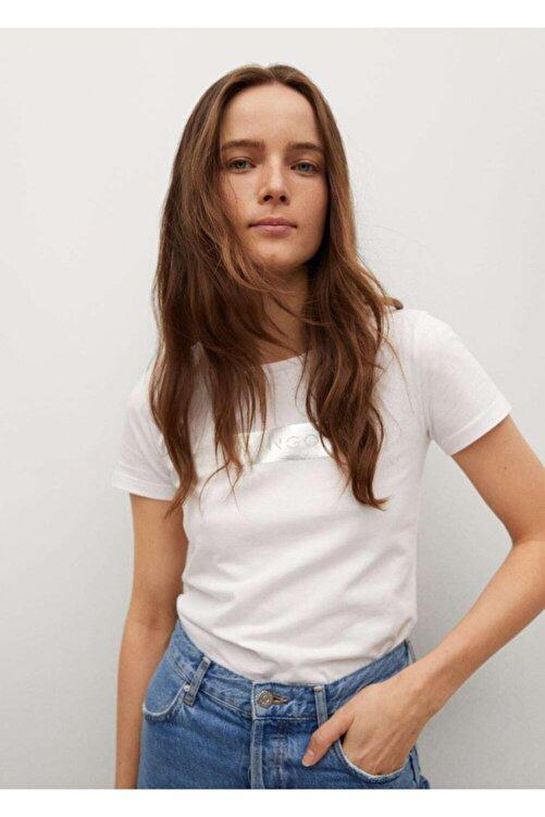 MANGO Woman Kadın Beyaz Logo Baskılı Pamuklu Tişört 1