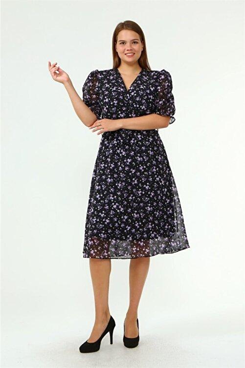 Neşeli Butik Kadın Kruvaze Yaka Midi Boy Büyük Beden Çiçekli Şifon Elbise Nb80621 1