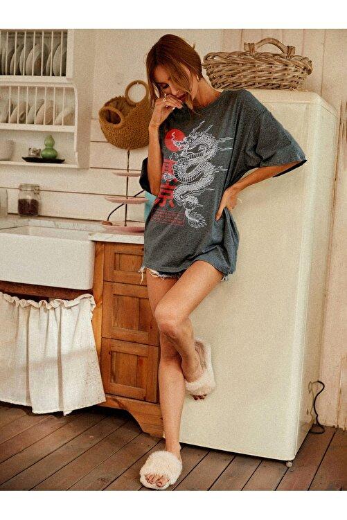 Millionaire Kadın Antrasit Warrior Oversize T-shirt 2