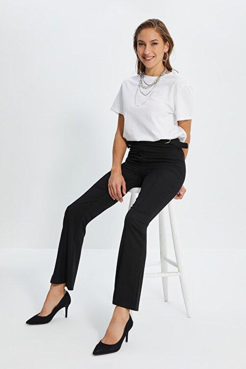TRENDYOLMİLLA Siyah Yüksek Bel D Tokalı Pantolon TWOSS21PL0214 1