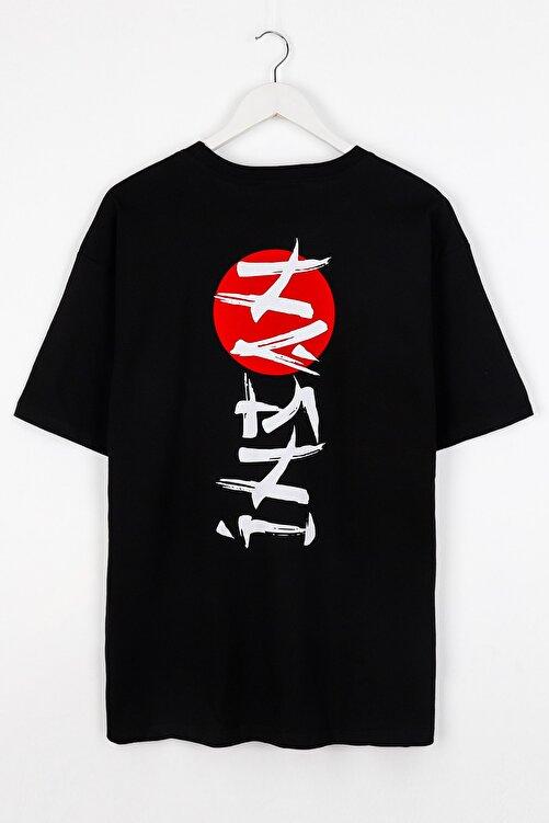 Sekizbiraltı Insan Sırt Baskılı Siyah Unisex Tshirt 1