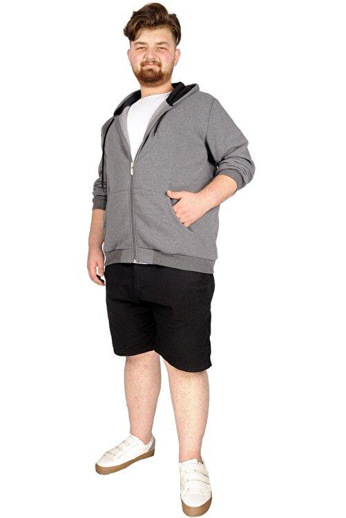 ModeXL Büyük Beden Erkek Sweatshirt Zippered Recycle B20533 Füme 2