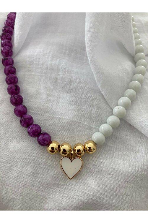 accesory elegance Doğal Taş Kalpli Kolye 1