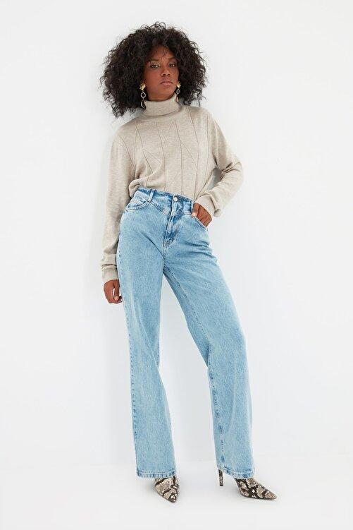 TRENDYOLMİLLA Mavi Bel Detaylı Yüksek Bel 90's Wide Leg Jeans TWOSS21JE0385 1