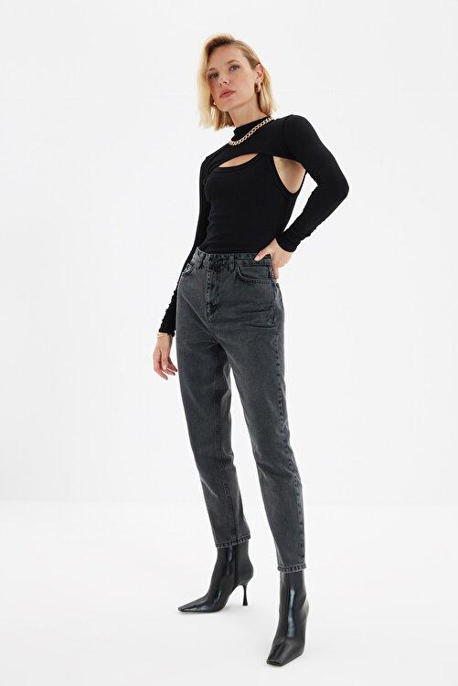 TRENDYOLMİLLA Antrasit Asit Yıkamalı Yüksek Bel Mom Jeans TWOSS20JE0164 2