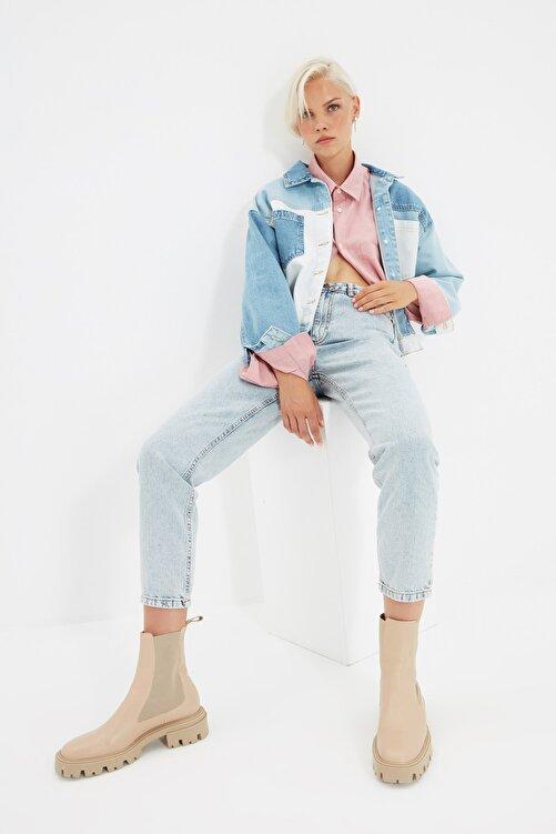 TRENDYOLMİLLA Buz Mavi Asit Yıkamalı Yüksek Bel Mom Jeans TWOSS20JE0164 1