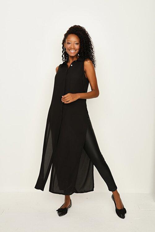 Select Moda Kadın Siyah Önden Düğmeli Maxi Gömlek 2