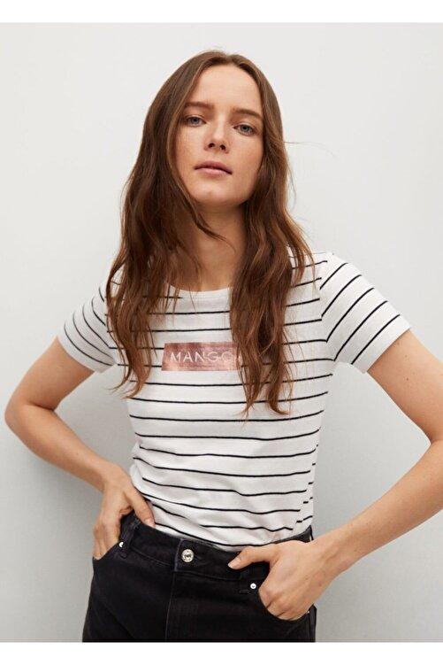 MANGO Woman Kadın Kırık Beyaz Logo Baskılı Pamuklu T-shirt 1