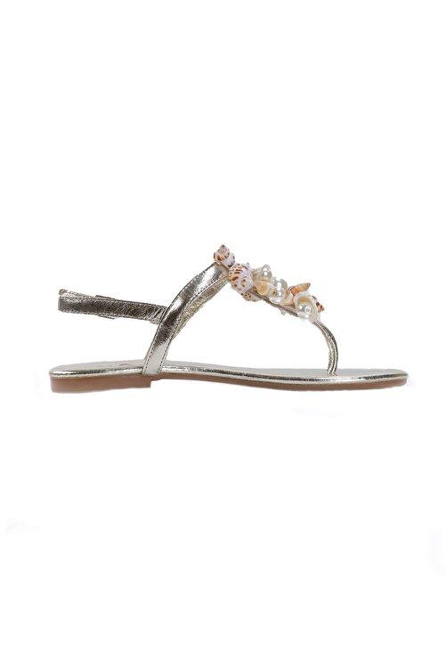 Oblavion Lavion Hakiki Deri Altın Deniz Kabuğu Günlük Taşlı Kadın Sandalet 2