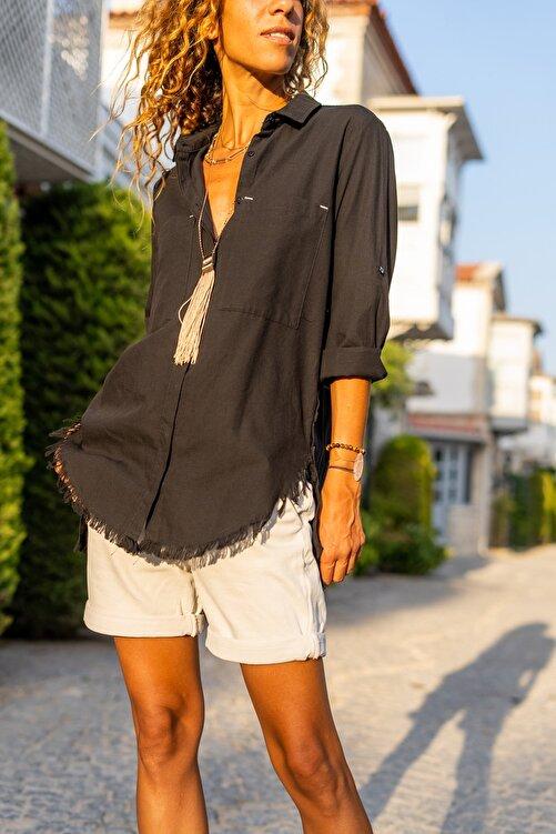 Güneşkızı Kadın Siyah Yanı Düğmeli Eteği Püsküllü Gömlek GK-AYN1666 2