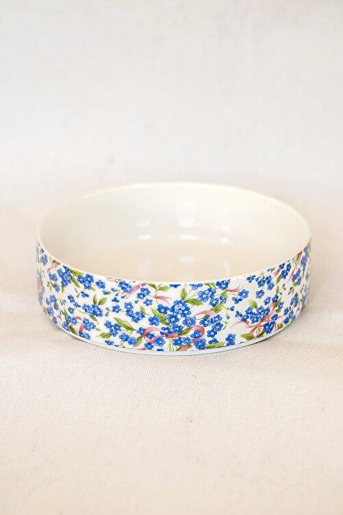 Bursa Porselen Dekor Mavi Çiçek Desen Jumbo Salata Tabağı 1