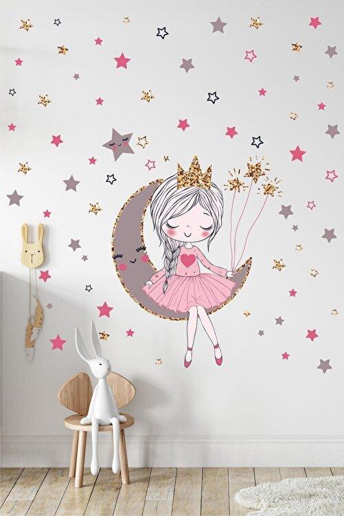 Kt Grup Orta Boy Ayda Oturan Sevimli Kız Çocuk Odası Duvar Sticker Seti 1