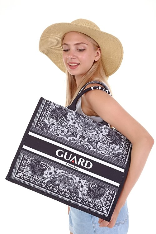 GUARD Kadın Özel Tasarım Desenli Siyah Plaj Çantası - Alışveriş Çantası 1