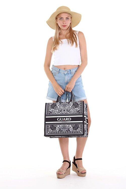 GUARD Kadın Özel Tasarım Desenli Siyah Plaj Çantası - Alışveriş Çantası 2