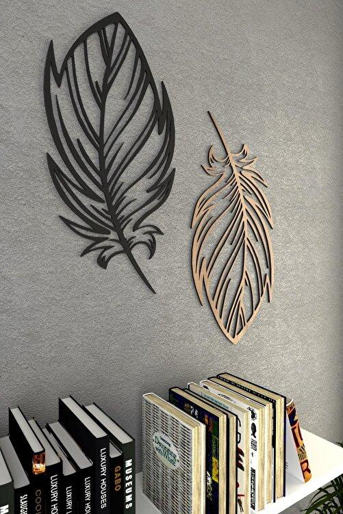 pi10reklam Kuş Tüyü Ahşap Dekoratif Duvar Dekoru Modena Siyah 2