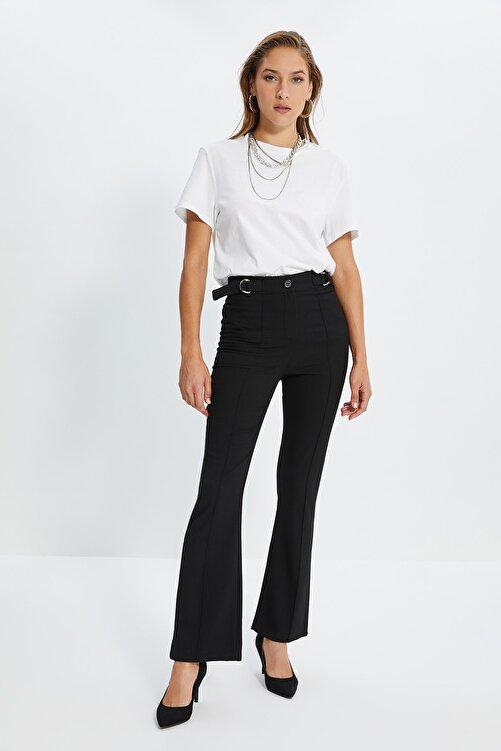 TRENDYOLMİLLA Siyah Yüksek Bel D Tokalı Pantolon TWOSS21PL0214 2