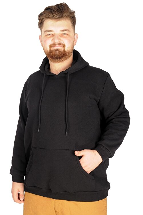 ModeXL Büyük Beden Sweat Kapson Kangoroo Pocket Recycle B20532 Siyah 1