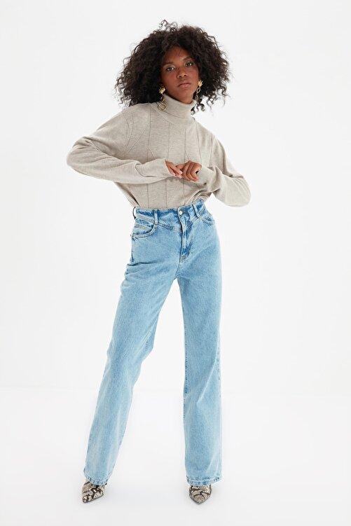TRENDYOLMİLLA Mavi Bel Detaylı Yüksek Bel 90's Wide Leg Jeans TWOSS21JE0385 2