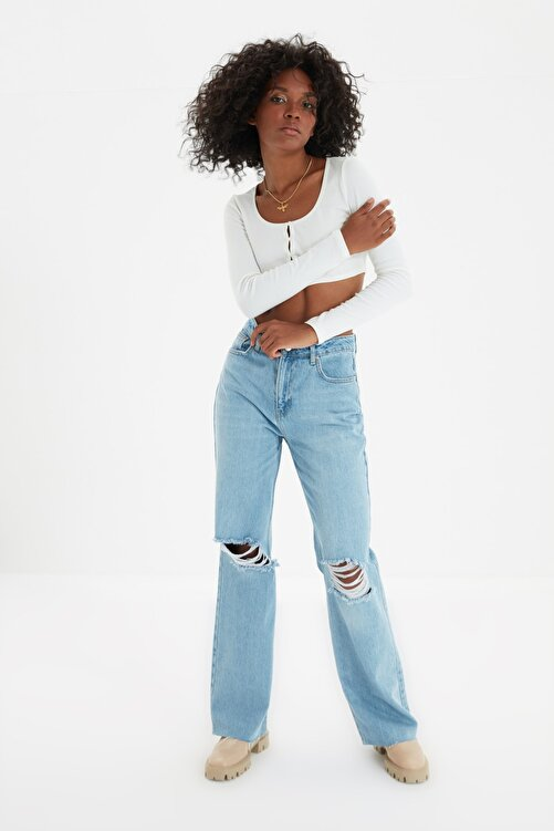 TRENDYOLMİLLA Mavi Yırtık Detaylı Yüksek Bel Wide Leg Jeans TWOAW21JE0539 1