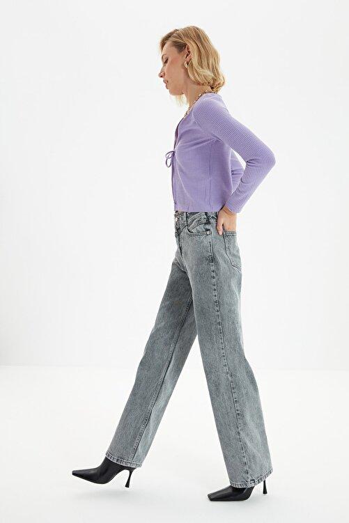 TRENDYOLMİLLA Antrasit Bel Detaylı Yüksek Bel 90's Wide Leg Jeans TWOSS21JE0385 2
