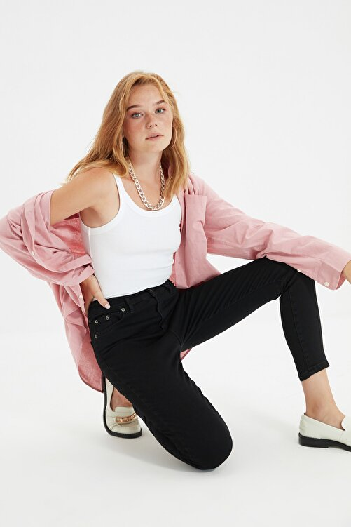 TRENDYOLMİLLA Siyah Yüksek Bel Skinny Jeans TWOSS20JE0301 1