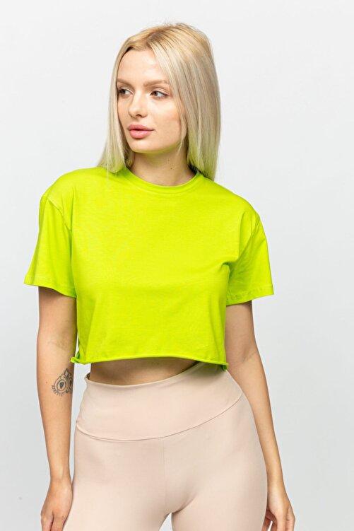 Mon Moule Fıstık Yeşili Kadın Lazer Kesim Basic Tshirt 2