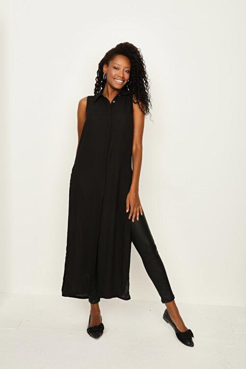 Select Moda Kadın Siyah Önden Düğmeli Maxi Gömlek 1