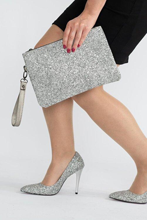 Capone Outfitters Kadın Gümüş Clutch Çanta 1