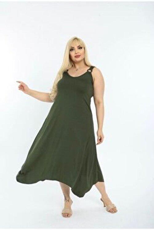 BELİS BUTİKK Kadın Omuz Tokalı Asimetrik Askılı Elbise 2