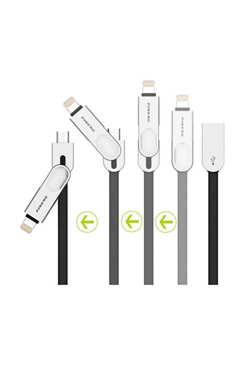 Pineng PN-307 Yüksek Hızlı Lightning ve Micro USB Siyah Data Sarj Kablosu 2
