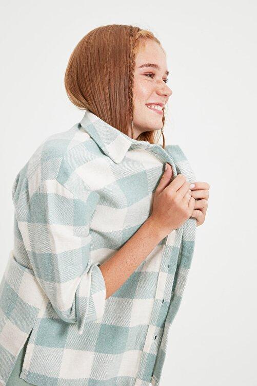 TRENDYOLMİLLA Mint  Oduncu Cep Detaylı Ekose Ceket Gömlek TWOAW21GO0321 2