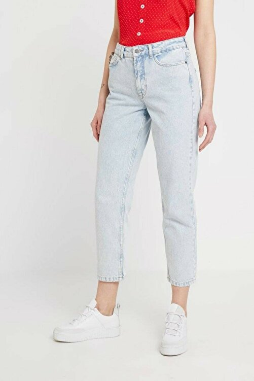 MODASMA Indigo Yüksek Bel Relaxed Fit Jeans 1