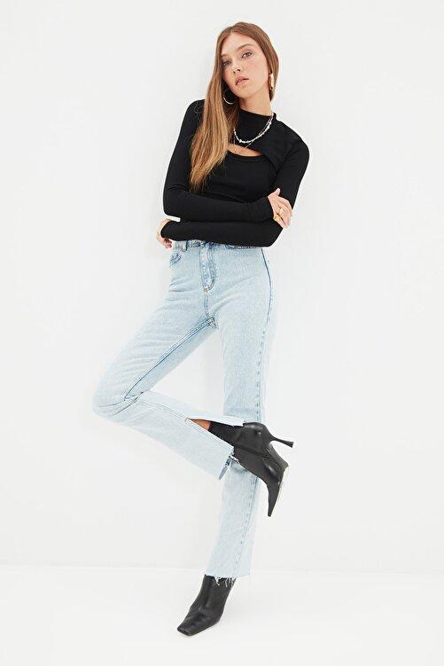 TRENDYOLMİLLA Mavi Yırtmaçlı Yüksek Bel Slim Flare Jeans TWOAW22JE0382 2