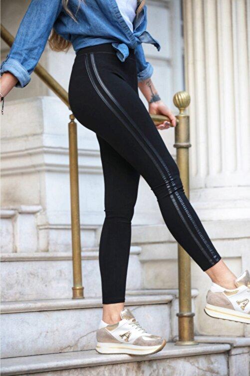 Grenj Fashion Siyah Yanı Iki Deri Şeritli Yüksek Bel Toparlayıcı Tayt 1