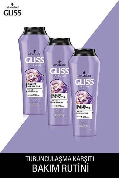 Gliss Blonde Perfector Mor Şampuan 250 ML x 3 Adet 1