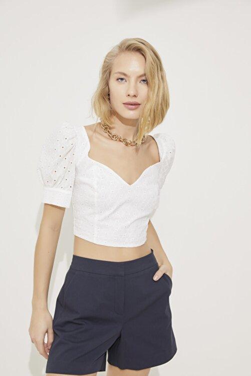 adL Kadın Kemik Balon Kol Kalp Yaka Crop Bluz 2