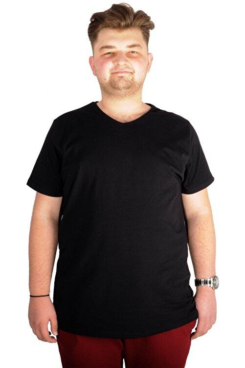 ModeXL Büyük Beden T-shirt V Yaka Likralı 20150 Siyah 1